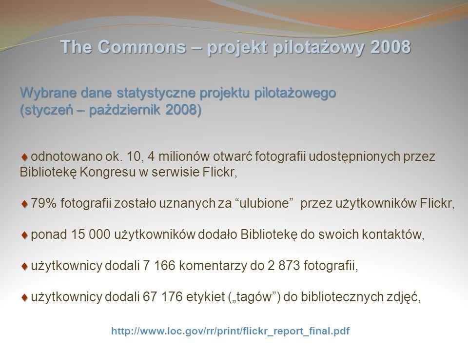 The Commons – projekt pilotażowy 2008 Wybrane dane statystyczne projektu pilotażowego (styczeń – październik 2008) odnotowano ok. 10, 4 milionów otwar