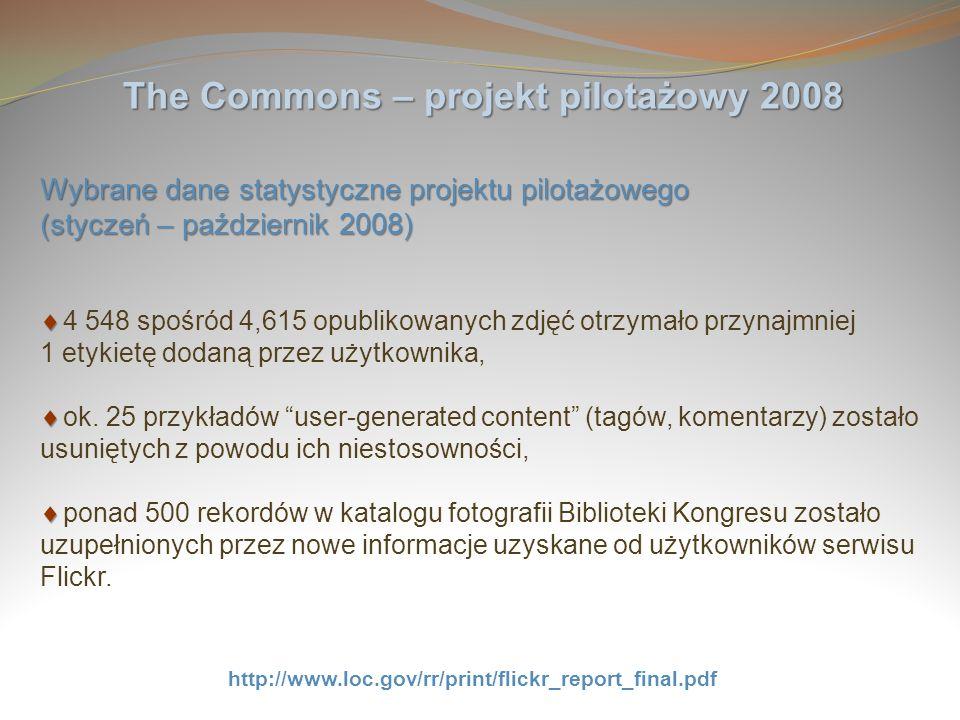 The Commons – projekt pilotażowy 2008 Wybrane dane statystyczne projektu pilotażowego (styczeń – październik 2008) 4 548 spośród 4,615 opublikowanych
