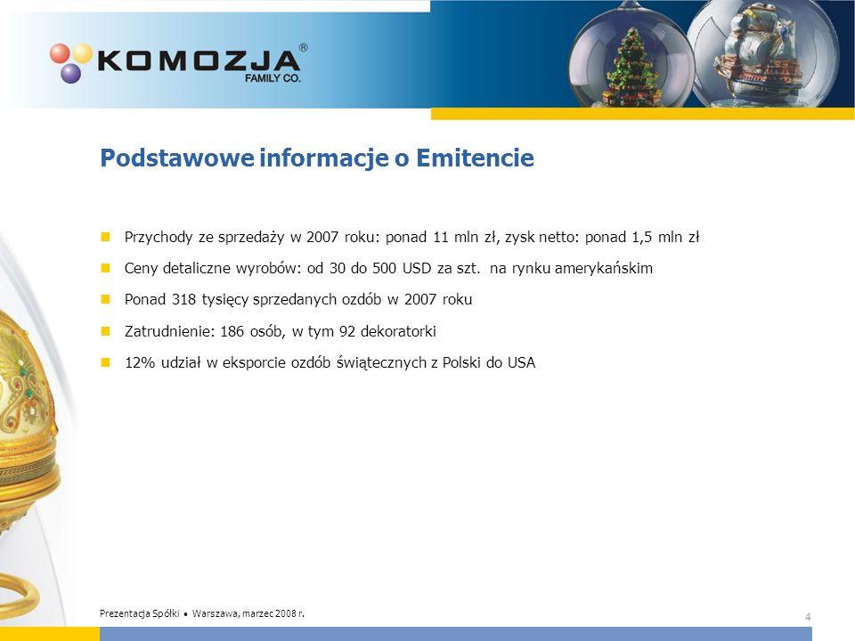 15 Cele strategiczne Budowanie wartości firmy poprzez ugruntowanie pozycji w segmencie Premium na wybranych rynkach selektywnych okolicznościowych ozdób szklanych poprzez: Dalszy rozwój rozwiązań technologicznych Umacnianie marek Komozja i MOSTWOSKI na rynku polskim i zachodnioeuropejskim Zdobycie 10% udziału rynkowego w USA Zdobycie 5% udziału rynkowego w Polsce Rozwój oferty produktowej w zakresie ozdób okolicznościowych i artykułów dekoracyjnych dla domu kierowanej na wyżej wymienione rynki Prezentacja Spółki Warszawa, marzec 2008 r.