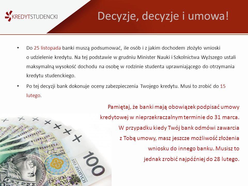 Decyzje, decyzje i umowa! Do 25 listopada banki muszą podsumować, ile osób i z jakim dochodem złożyło wnioski o udzielenie kredytu. Na tej podstawie w
