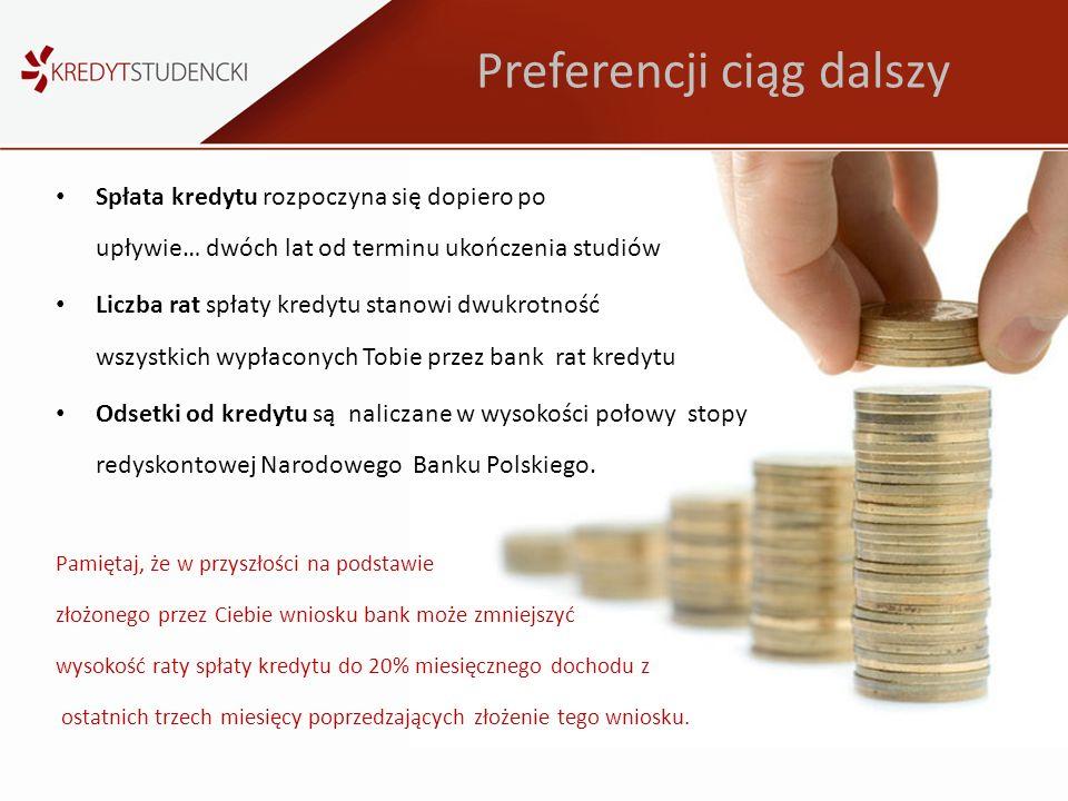 Preferencji ciąg dalszy Spłata kredytu rozpoczyna się dopiero po upływie… dwóch lat od terminu ukończenia studiów Liczba rat spłaty kredytu stanowi dw