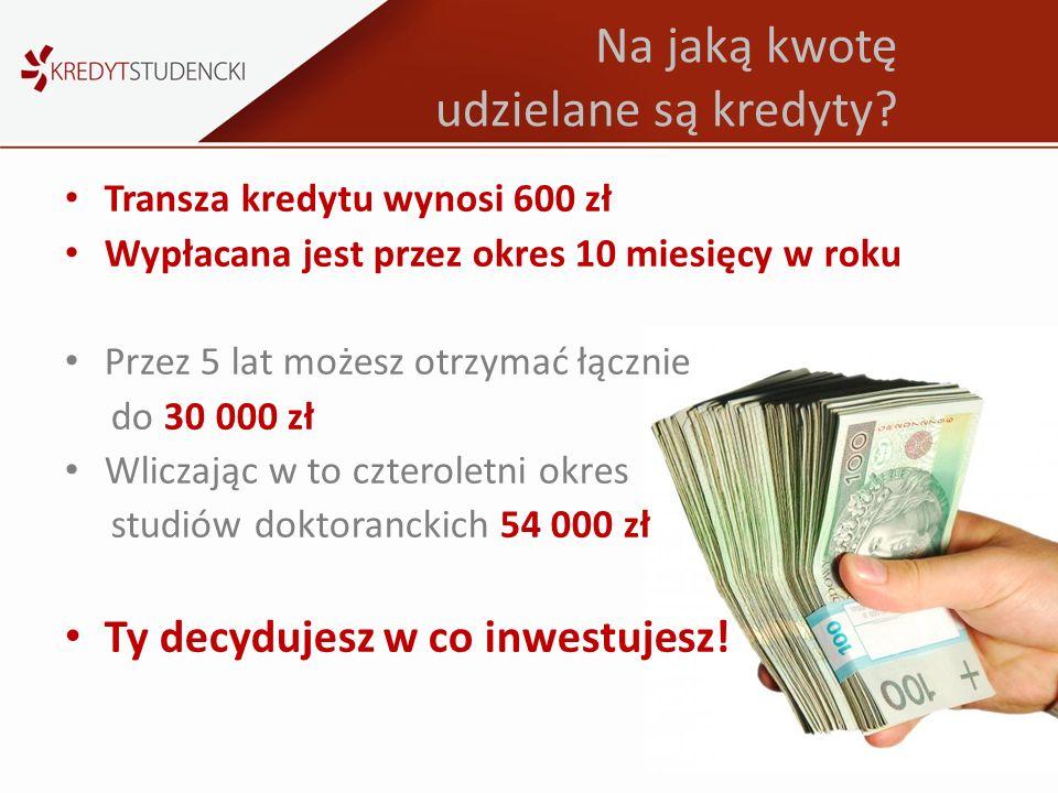 Na jaką kwotę udzielane są kredyty? Transza kredytu wynosi 600 zł Wypłacana jest przez okres 10 miesięcy w roku Przez 5 lat możesz otrzymać łącznie do