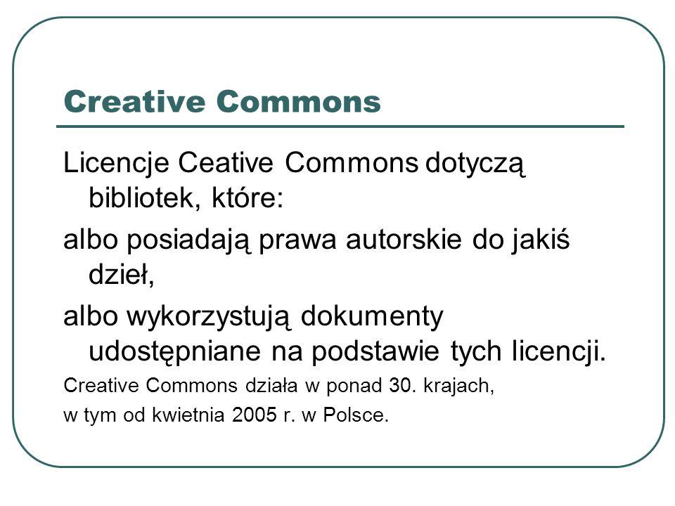 Creative Commons Licencje Ceative Commons dotyczą bibliotek, które: albo posiadają prawa autorskie do jakiś dzieł, albo wykorzystują dokumenty udostęp