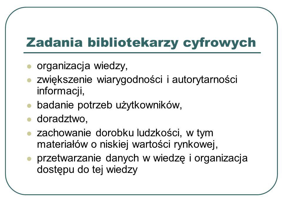 Zadania bibliotekarzy cyfrowych organizacja wiedzy, zwiększenie wiarygodności i autorytarności informacji, badanie potrzeb użytkowników, doradztwo, za