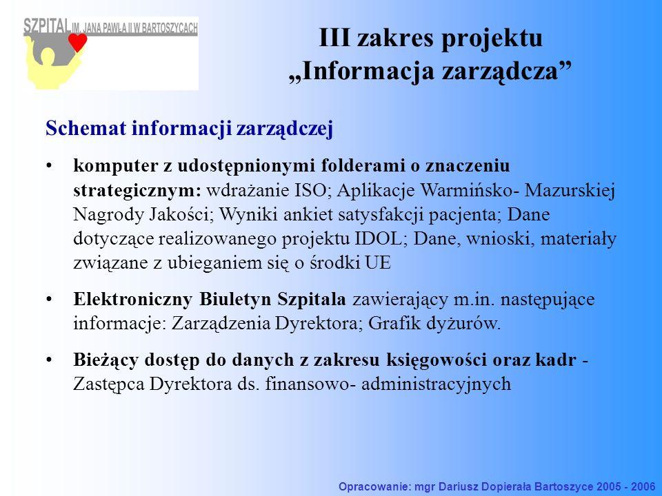 III zakres projektu Informacja zarządcza Schemat informacji zarządczej komputer z udostępnionymi folderami o znaczeniu strategicznym: wdrażanie ISO; Aplikacje Warmińsko- Mazurskiej Nagrody Jakości; Wyniki ankiet satysfakcji pacjenta; Dane dotyczące realizowanego projektu IDOL; Dane, wnioski, materiały związane z ubieganiem się o środki UE Elektroniczny Biuletyn Szpitala zawierający m.in.