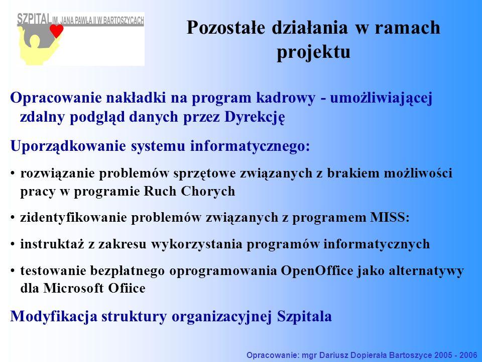 Pozostałe działania w ramach projektu Opracowanie nakładki na program kadrowy - umożliwiającej zdalny podgląd danych przez Dyrekcję Uporządkowanie systemu informatycznego: rozwiązanie problemów sprzętowe związanych z brakiem możliwości pracy w programie Ruch Chorych zidentyfikowanie problemów związanych z programem MISS: instruktaż z zakresu wykorzystania programów informatycznych testowanie bezpłatnego oprogramowania OpenOffice jako alternatywy dla Microsoft Ofiice Modyfikacja struktury organizacyjnej Szpitala Opracowanie: mgr Dariusz Dopierała Bartoszyce 2005 - 2006