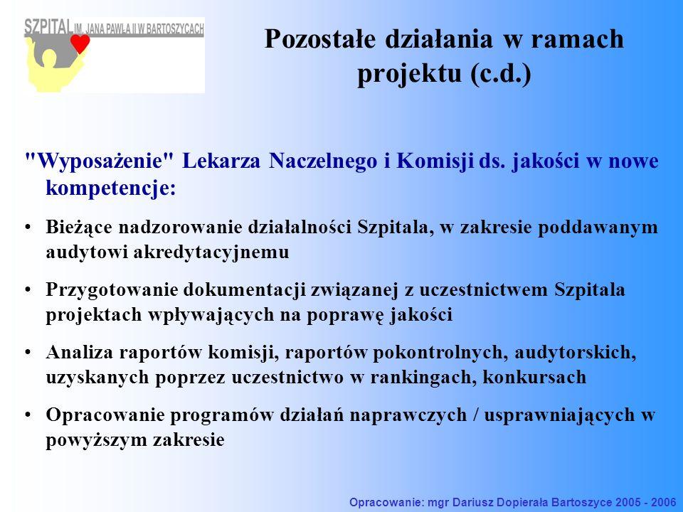 Pozostałe działania w ramach projektu (c.d.) Wyposażenie Lekarza Naczelnego i Komisji ds.