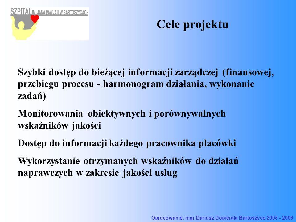 Cele projektu Szybki dostęp do bieżącej informacji zarządczej (finansowej, przebiegu procesu - harmonogram działania, wykonanie zadań) Monitorowania obiektywnych i porównywalnych wskaźników jakości Dostęp do informacji każdego pracownika placówki Wykorzystanie otrzymanych wskaźników do działań naprawczych w zakresie jakości usług Opracowanie: mgr Dariusz Dopierała Bartoszyce 2005 - 2006