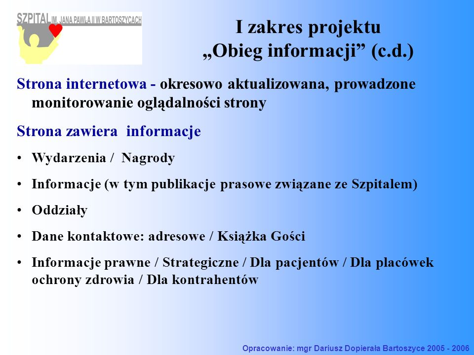 I zakres projektu Obieg informacji (c.d.) Strona internetowa - okresowo aktualizowana, prowadzone monitorowanie oglądalności strony Strona zawiera inf