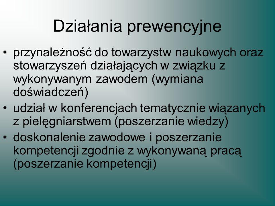 Działania prewencyjne przynależność do towarzystw naukowych oraz stowarzyszeń działających w związku z wykonywanym zawodem (wymiana doświadczeń) udzia