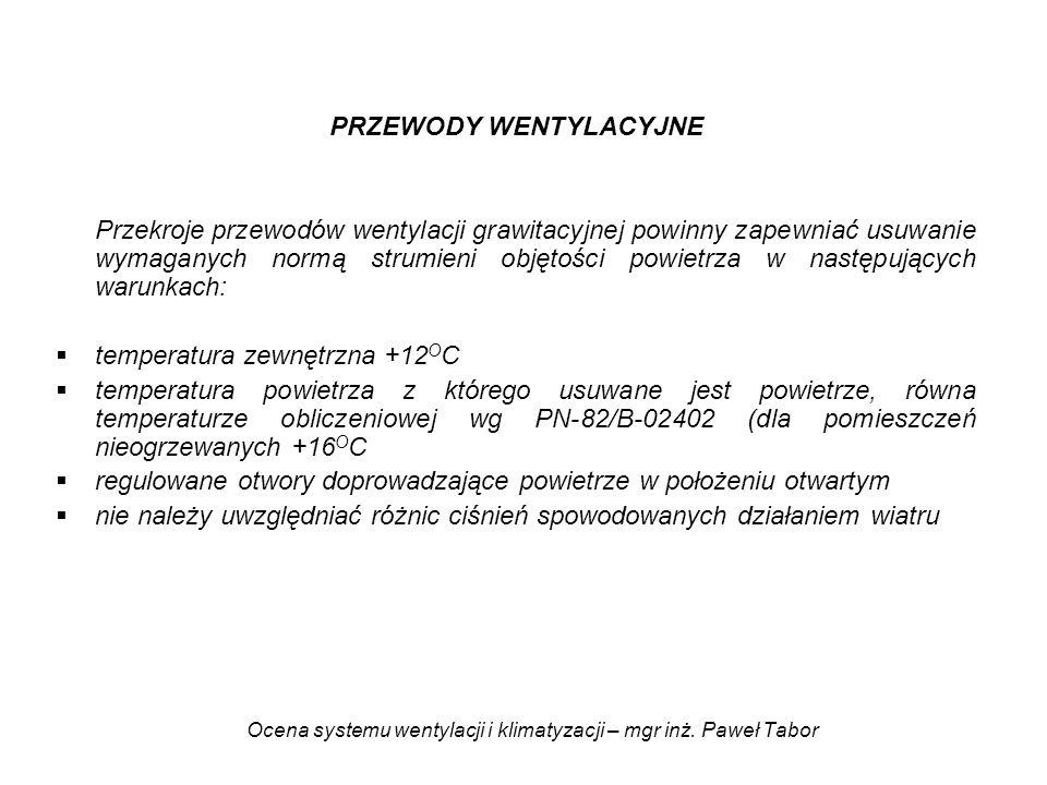 Ocena systemu wentylacji i klimatyzacji – mgr inż. Paweł Tabor PRZEWODY WENTYLACYJNE Przekroje przewodów wentylacji grawitacyjnej powinny zapewniać us
