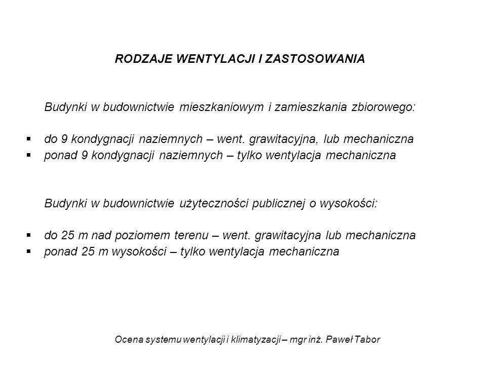 Ocena systemu wentylacji i klimatyzacji – mgr inż. Paweł Tabor RODZAJE WENTYLACJI I ZASTOSOWANIA Budynki w budownictwie mieszkaniowym i zamieszkania z