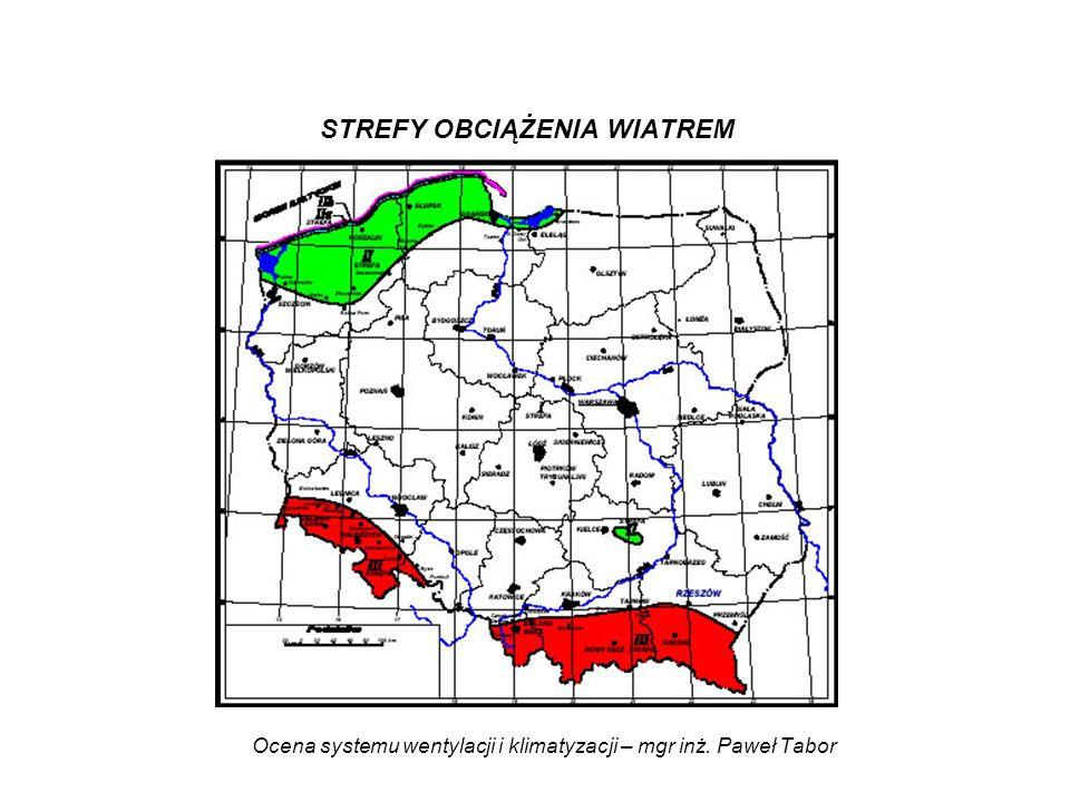 Ocena systemu wentylacji i klimatyzacji – mgr inż. Paweł Tabor STREFY OBCIĄŻENIA WIATREM