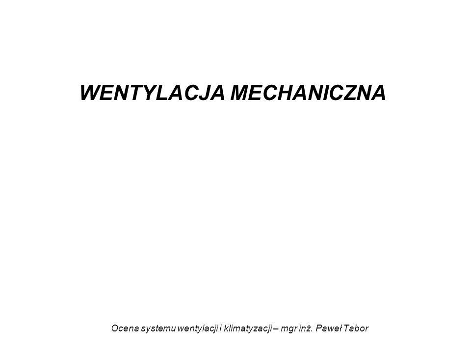 Ocena systemu wentylacji i klimatyzacji – mgr inż. Paweł Tabor WENTYLACJA MECHANICZNA