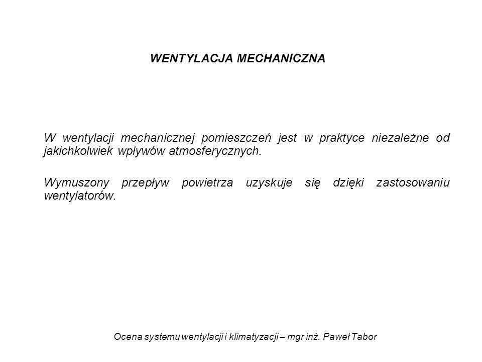 Ocena systemu wentylacji i klimatyzacji – mgr inż. Paweł Tabor WENTYLACJA MECHANICZNA W wentylacji mechanicznej pomieszczeń jest w praktyce niezależne