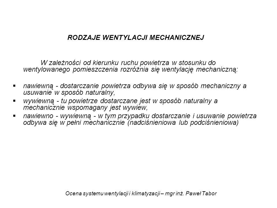 Ocena systemu wentylacji i klimatyzacji – mgr inż. Paweł Tabor RODZAJE WENTYLACJI MECHANICZNEJ W zależności od kierunku ruchu powietrza w stosunku do
