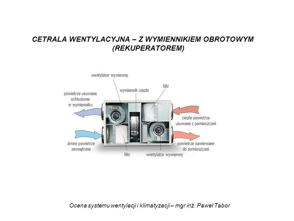 Ocena systemu wentylacji i klimatyzacji – mgr inż. Paweł Tabor CETRALA WENTYLACYJNA – Z WYMIENNIKIEM OBROTOWYM (REKUPERATOREM)