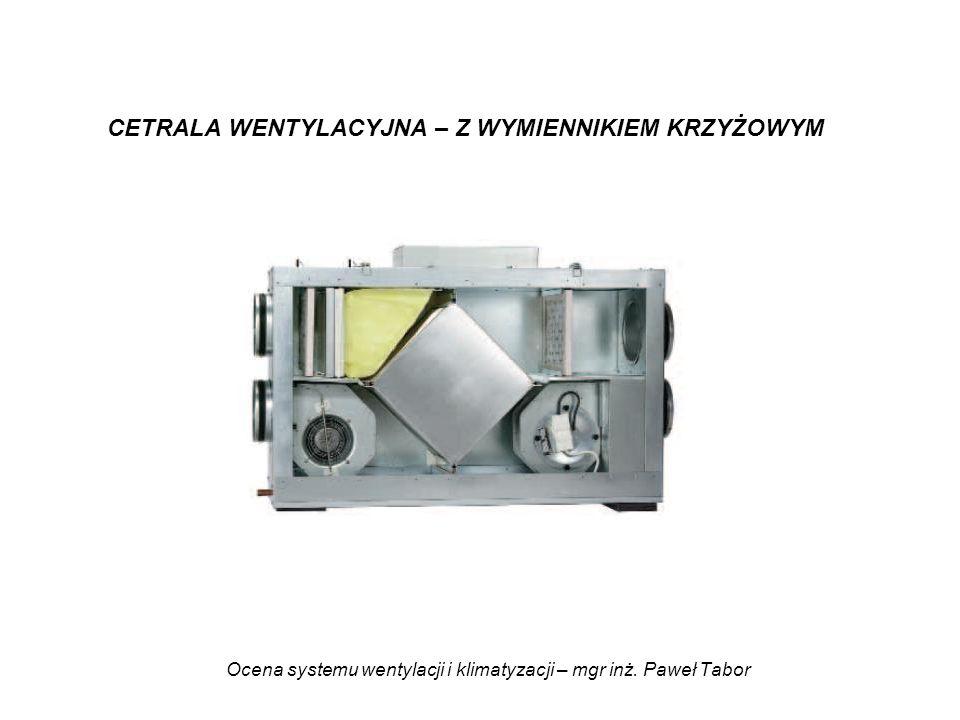 Ocena systemu wentylacji i klimatyzacji – mgr inż. Paweł Tabor CETRALA WENTYLACYJNA – Z WYMIENNIKIEM KRZYŻOWYM