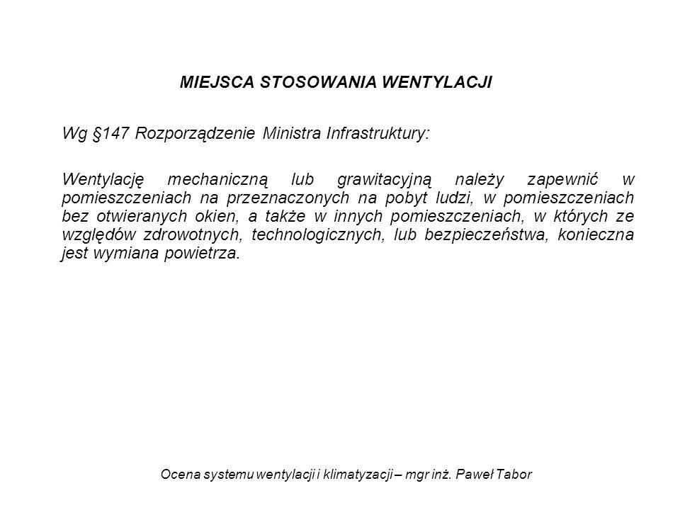 Ocena systemu wentylacji i klimatyzacji – mgr inż. Paweł Tabor MIEJSCA STOSOWANIA WENTYLACJI Wg §147 Rozporządzenie Ministra Infrastruktury: Wentylacj