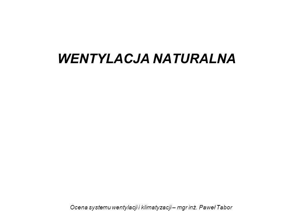 Ocena systemu wentylacji i klimatyzacji – mgr inż. Paweł Tabor WENTYLACJA NATURALNA