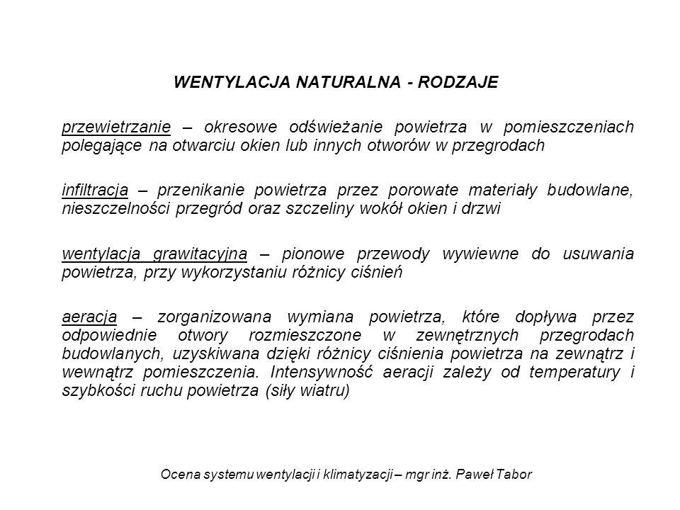 Ocena systemu wentylacji i klimatyzacji – mgr inż. Paweł Tabor WENTYLACJA NATURALNA - RODZAJE przewietrzanie – okresowe odświeżanie powietrza w pomies