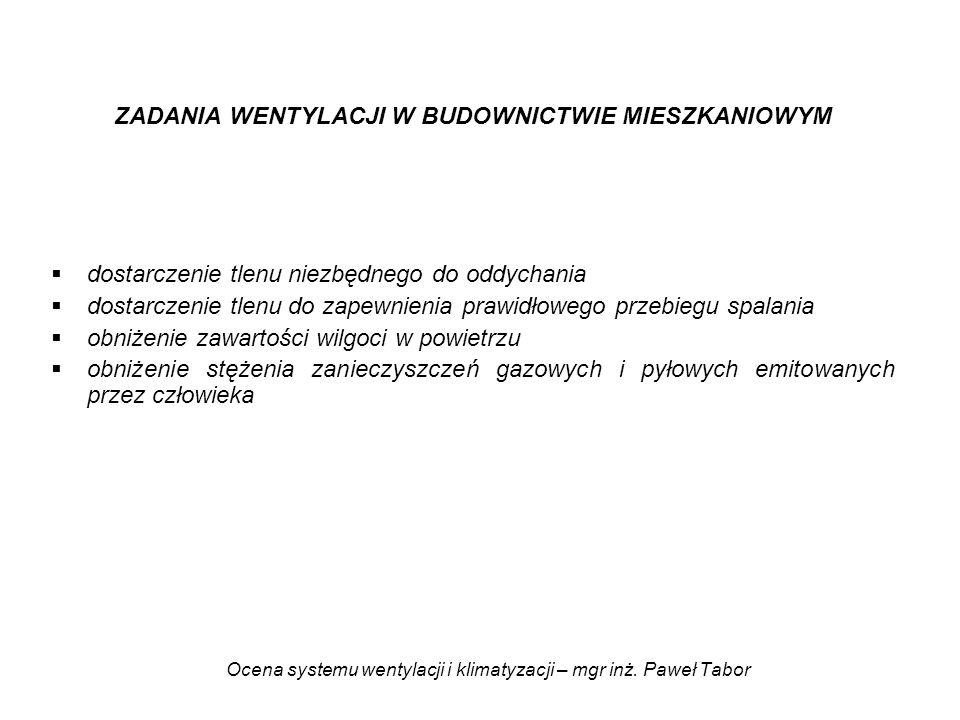 Ocena systemu wentylacji i klimatyzacji – mgr inż. Paweł Tabor ZADANIA WENTYLACJI W BUDOWNICTWIE MIESZKANIOWYM dostarczenie tlenu niezbędnego do oddyc