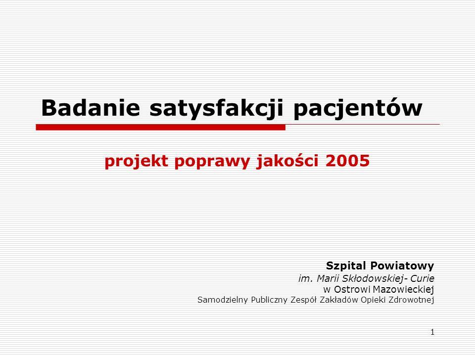 1 Badanie satysfakcji pacjentów projekt poprawy jakości 2005 Szpital Powiatowy im. Marii Skłodowskiej- Curie w Ostrowi Mazowieckiej Samodzielny Public