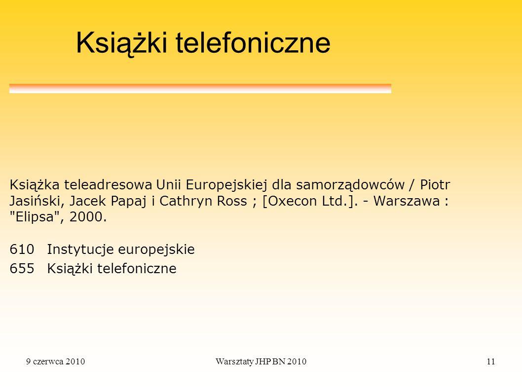 9 czerwca 2010Warsztaty JHP BN 201011 Książki telefoniczne 610Instytucje europejskie 655Książki telefoniczne Książka teleadresowa Unii Europejskiej dl