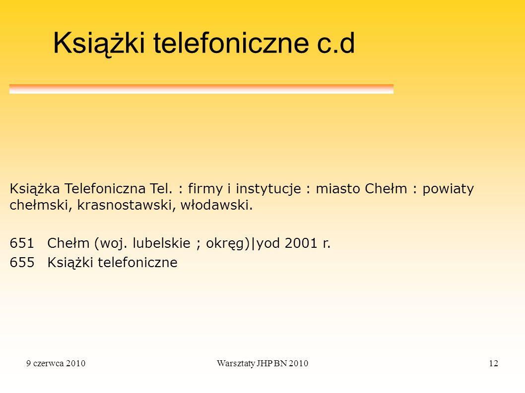9 czerwca 2010Warsztaty JHP BN 201012 Książki telefoniczne c.d Książka Telefoniczna Tel. : firmy i instytucje : miasto Chełm : powiaty chełmski, krasn