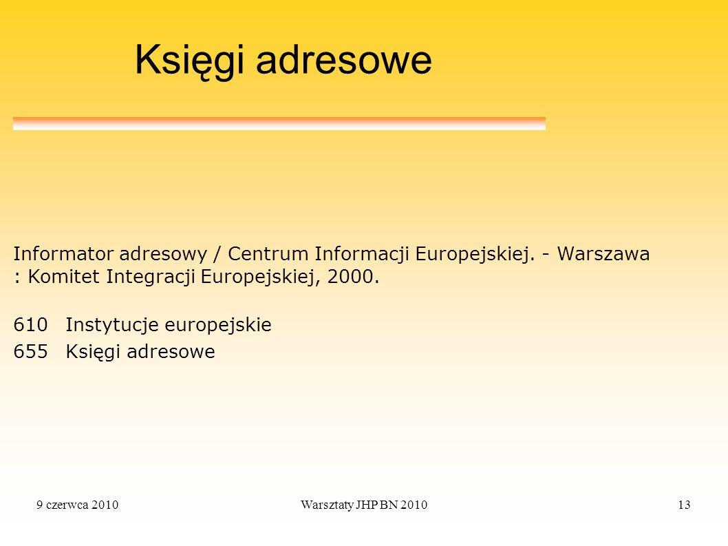 9 czerwca 2010Warsztaty JHP BN 201013 Księgi adresowe 610Instytucje europejskie 655Księgi adresowe Informator adresowy / Centrum Informacji Europejski
