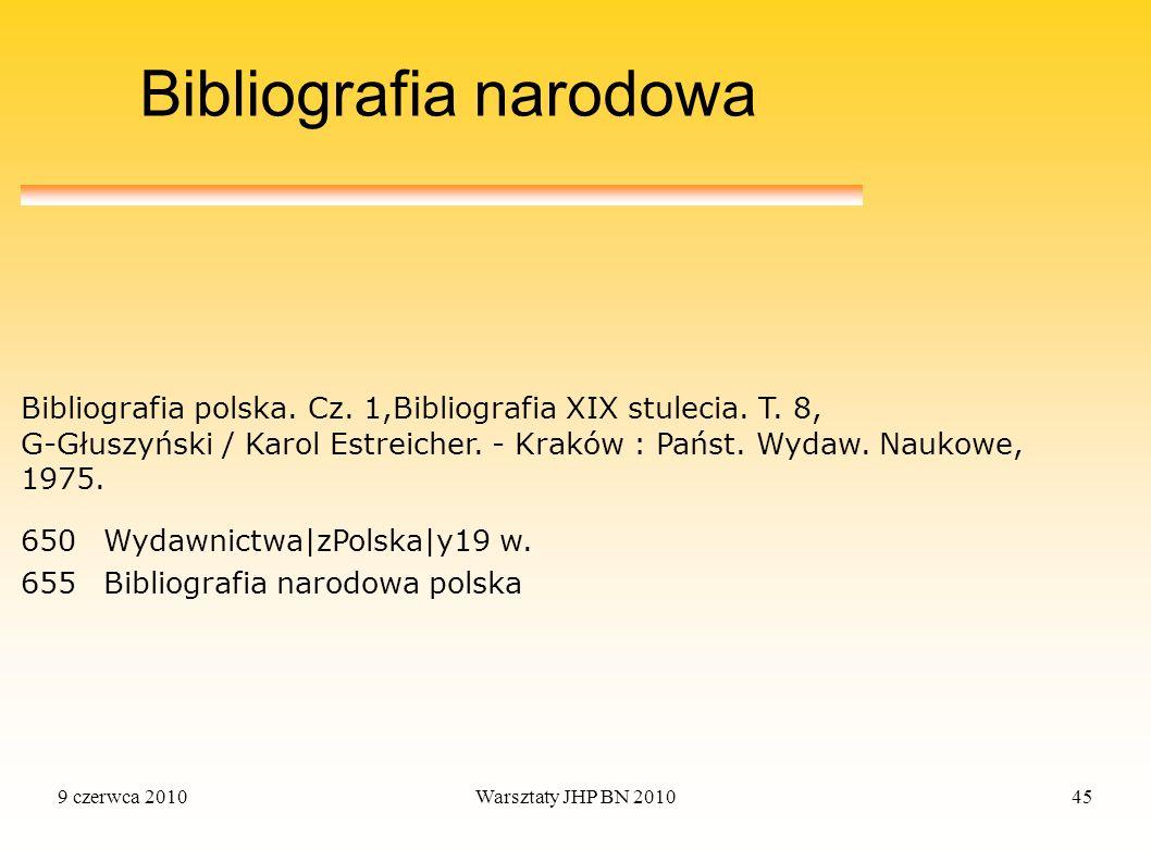 9 czerwca 2010Warsztaty JHP BN 201045 Bibliografia narodowa 650Wydawnictwa|zPolska|y19 w. 655Bibliografia narodowa polska Bibliografia polska. Cz. 1,B