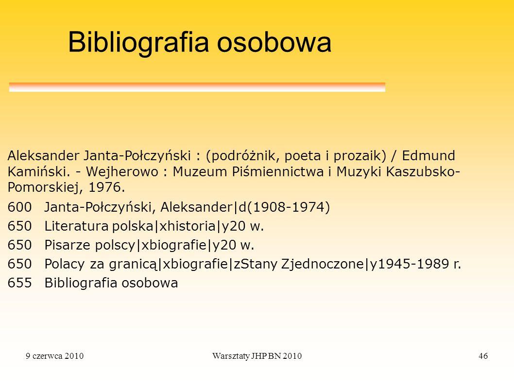 9 czerwca 2010Warsztaty JHP BN 201046 Bibliografia osobowa 600Janta-Połczyński, Aleksander|d(1908-1974) 650Literatura polska|xhistoria|y20 w. 650Pisar