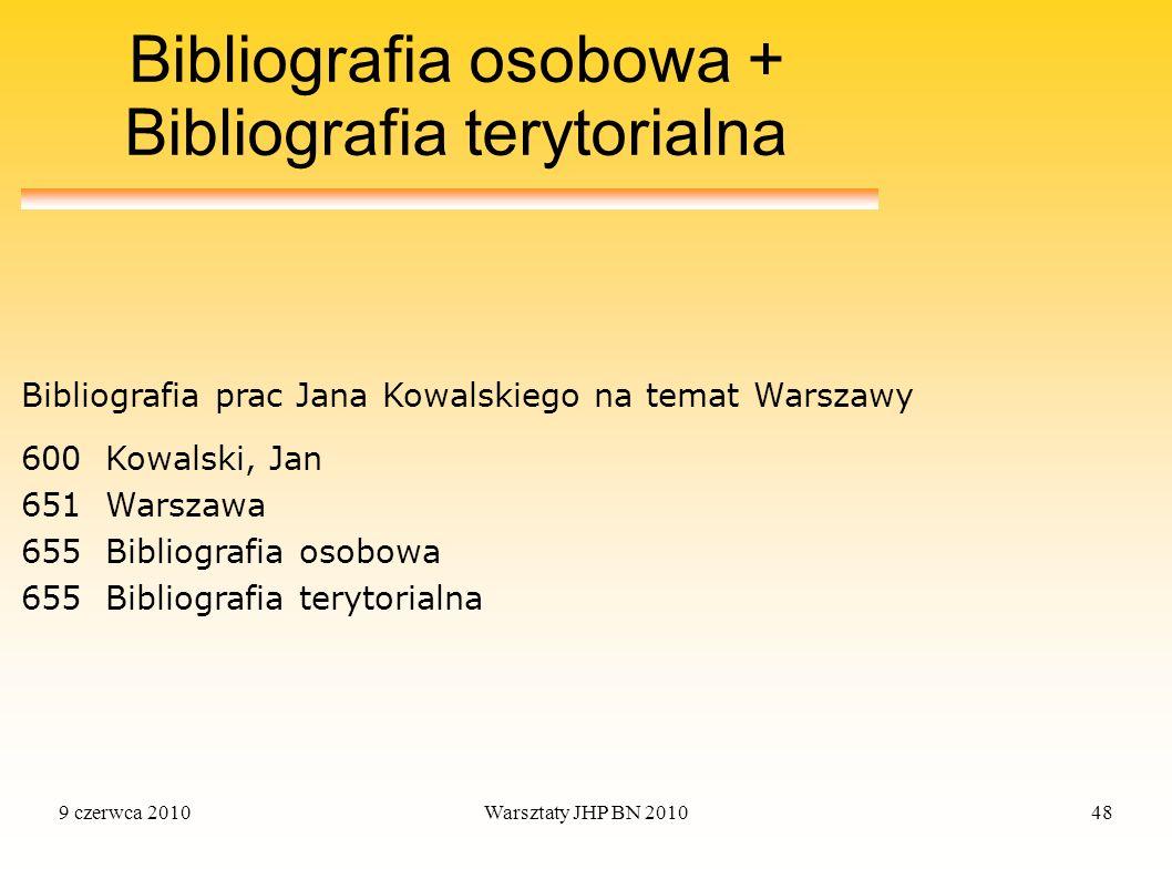 9 czerwca 2010Warsztaty JHP BN 201048 Bibliografia osobowa + Bibliografia terytorialna 600Kowalski, Jan 651Warszawa 655Bibliografia osobowa 655Bibliog