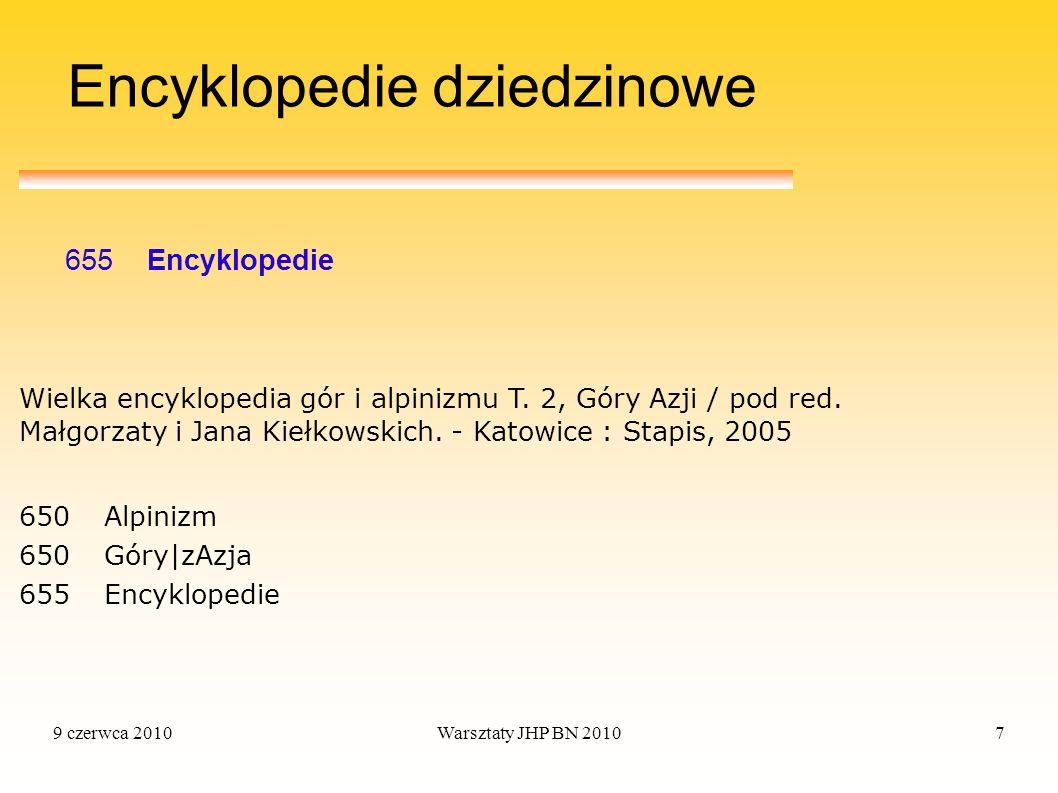 9 czerwca 2010Warsztaty JHP BN 20107 Encyklopedie dziedzinowe 655 Encyklopedie 650 Alpinizm 650 Góry|zAzja 655 Encyklopedie Wielka encyklopedia gór i