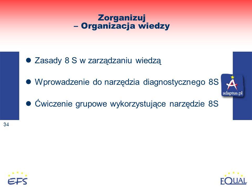34 Zorganizuj – Organizacja wiedzy Zasady 8 S w zarządzaniu wiedzą Wprowadzenie do narzędzia diagnostycznego 8S Ćwiczenie grupowe wykorzystujące narzę