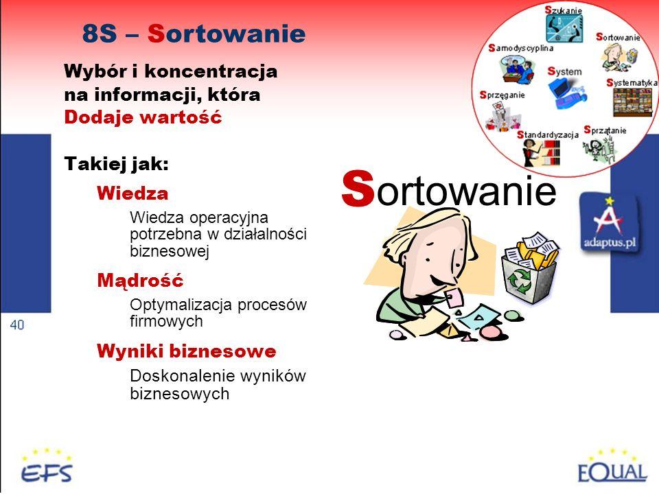 38 8S – Sortowanie S ortowanie Wybór i koncentracja na informacji, która Dodaje wartość Takiej jak: Wiedza Wiedza operacyjna potrzebna w działalności