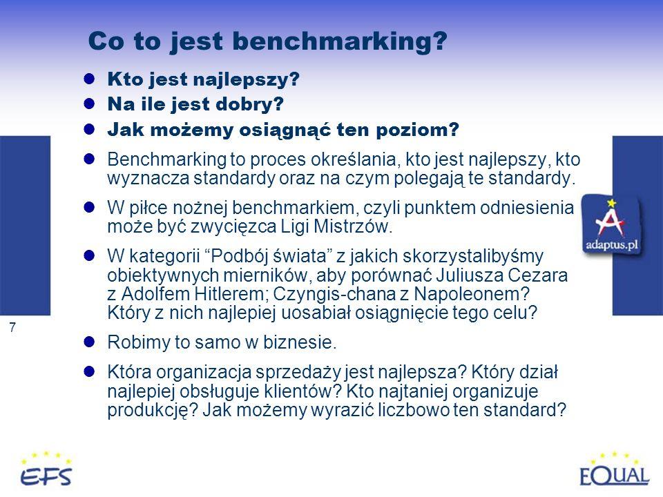 7 Co to jest benchmarking? Kto jest najlepszy? Na ile jest dobry? Jak możemy osiągnąć ten poziom? Benchmarking to proces określania, kto jest najlepsz
