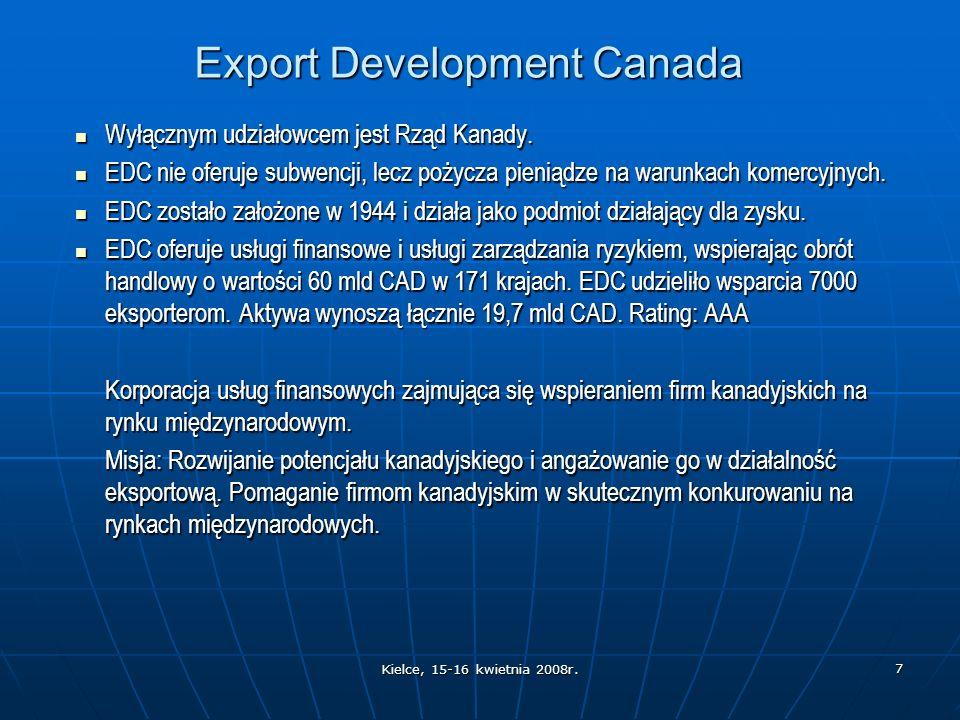 Kielce, 15-16 kwietnia 2008r. 7 Export Development Canada Wyłącznym udziałowcem jest Rząd Kanady.