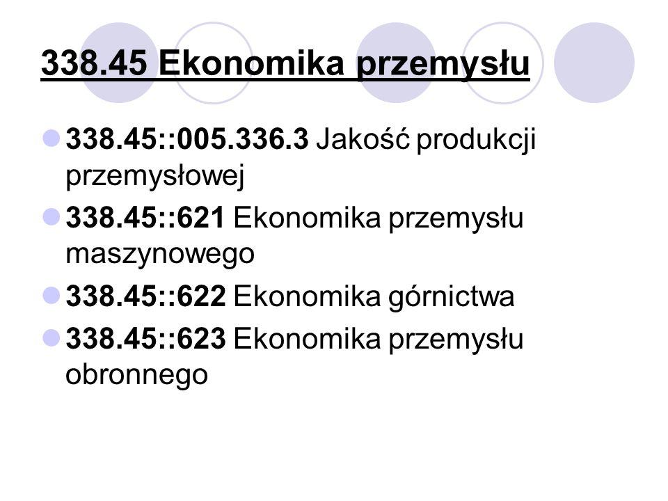 338.45 Ekonomika przemysłu 338.45::005.336.3 Jakość produkcji przemysłowej 338.45::621 Ekonomika przemysłu maszynowego 338.45::622 Ekonomika górnictwa