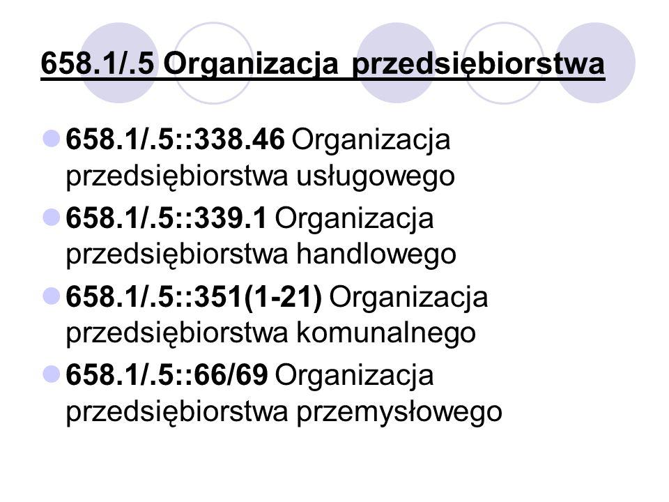 658.1/.5 Organizacja przedsiębiorstwa 658.1/.5::338.46 Organizacja przedsiębiorstwa usługowego 658.1/.5::339.1 Organizacja przedsiębiorstwa handlowego 658.1/.5::351(1-21) Organizacja przedsiębiorstwa komunalnego 658.1/.5::66/69 Organizacja przedsiębiorstwa przemysłowego