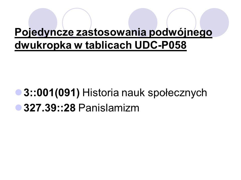 Pojedyncze zastosowania podwójnego dwukropka w tablicach UDC-P058 3::001(091) Historia nauk społecznych 327.39::28 Panislamizm