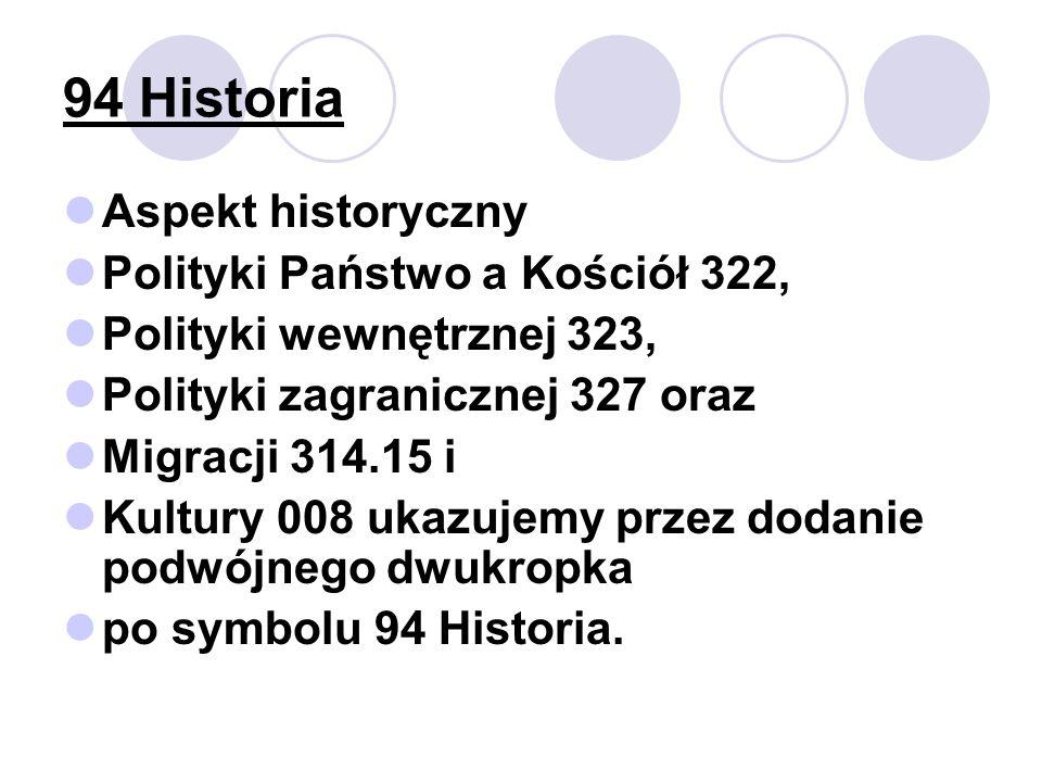 94 Historia Aspekt historyczny Polityki Państwo a Kościół 322, Polityki wewnętrznej 323, Polityki zagranicznej 327 oraz Migracji 314.15 i Kultury 008 ukazujemy przez dodanie podwójnego dwukropka po symbolu 94 Historia.