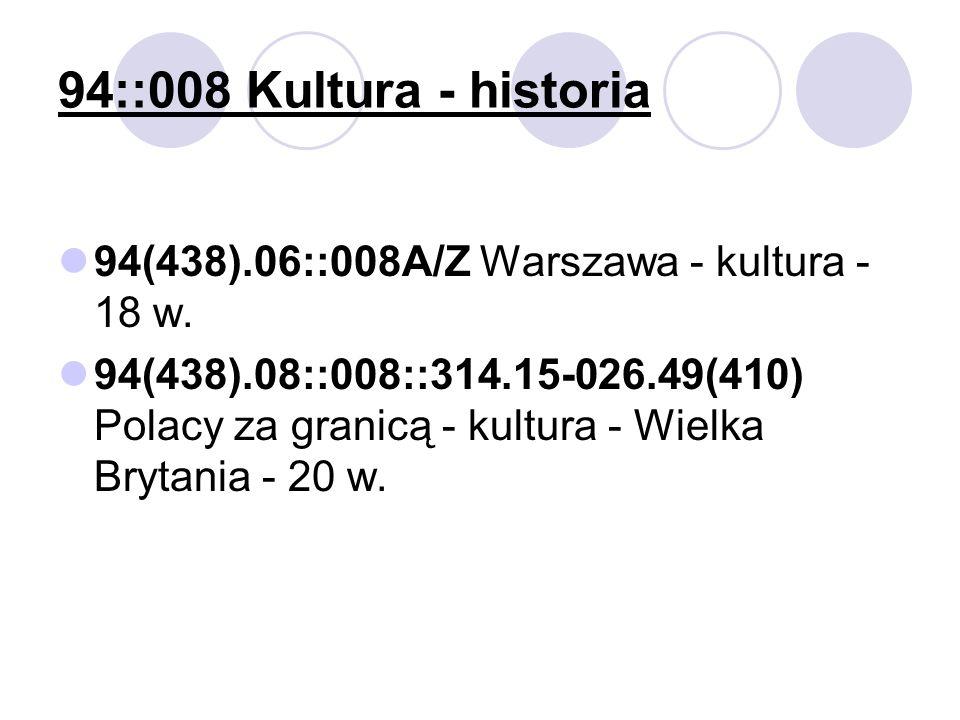 94::008 Kultura - historia 94(438).06::008A/Z Warszawa - kultura - 18 w.