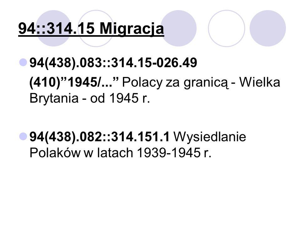 94::314.15 Migracja 94(438).083::314.15-026.49 (410)1945/... Polacy za granicą - Wielka Brytania - od 1945 r. 94(438).082::314.151.1 Wysiedlanie Polak