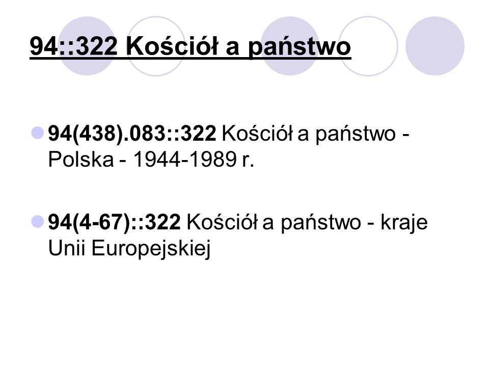 94::322 Kościół a państwo 94(438).083::322 Kościół a państwo - Polska - 1944-1989 r. 94(4-67)::322 Kościół a państwo - kraje Unii Europejskiej
