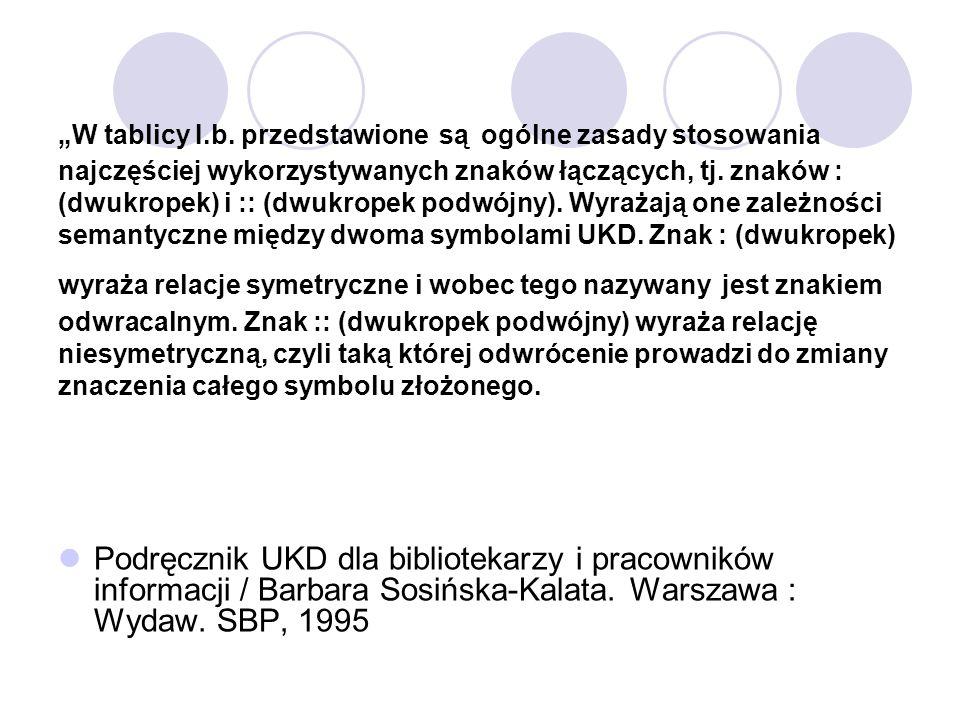 W tablicy I.b. przedstawione są ogólne zasady stosowania najczęściej wykorzystywanych znaków łączących, tj. znaków : (dwukropek) i :: (dwukropek podwó