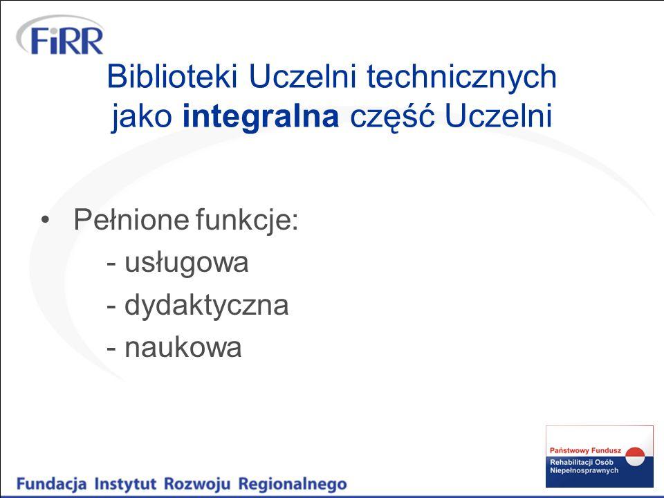 Biblioteki Uczelni technicznych jako integralna część Uczelni Pełnione funkcje: - usługowa - dydaktyczna - naukowa