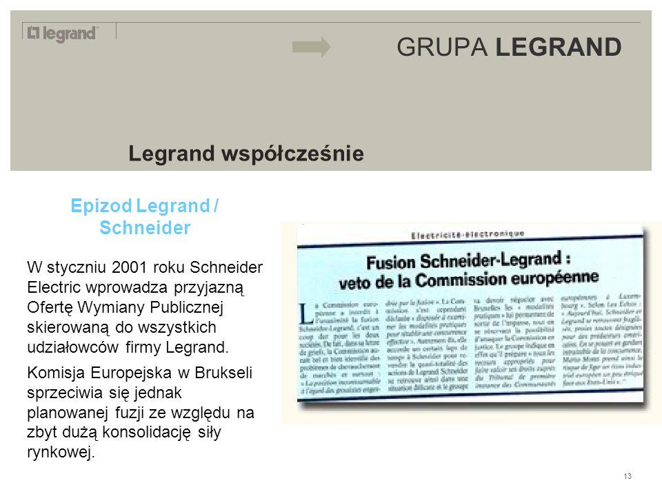 LEGRAND IN 2009 GRUPA LEGRAND Legrand współcześnie Epizod Legrand / Schneider W styczniu 2001 roku Schneider Electric wprowadza przyjazną Ofertę Wymiany Publicznej skierowaną do wszystkich udziałowców firmy Legrand.
