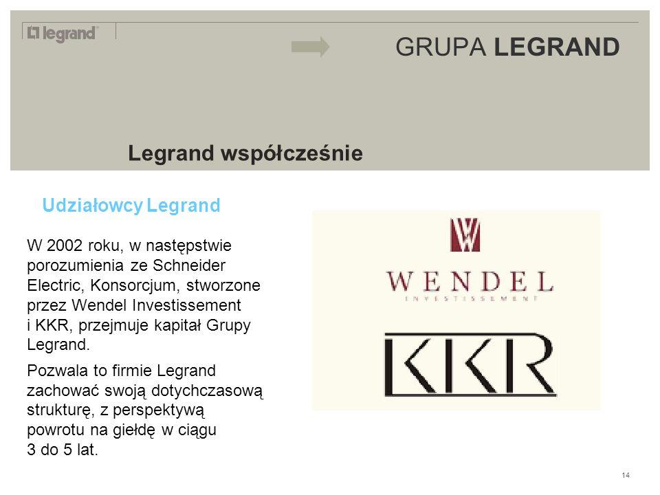 LEGRAND IN 2009 GRUPA LEGRAND Legrand współcześnie Udziałowcy Legrand W 2002 roku, w następstwie porozumienia ze Schneider Electric, Konsorcjum, stworzone przez Wendel Investissement i KKR, przejmuje kapitał Grupy Legrand.