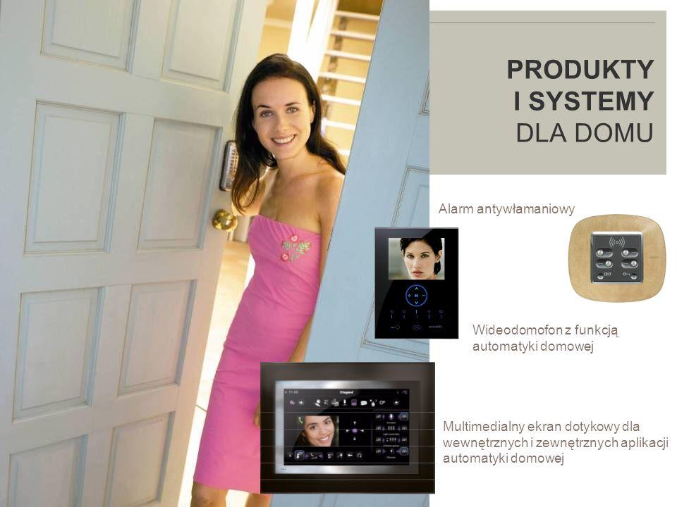 LEGRAND IN 2009 PRODUKTY I SYSTEMY DLA DOMU Alarm antywłamaniowy Multimedialny ekran dotykowy dla wewnętrznych i zewnętrznych aplikacji automatyki domowej Wideodomofon z funkcją automatyki domowej
